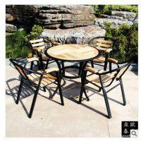 户外桌椅实木庭院阳台柚木铁桌椅2圆椅+1圆桌三件套IQ-445