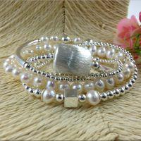 厂家直销 珍珠配925银拉丝挂件 时尚欧美风格手链