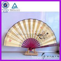 中国传统文化工艺扇子 竹柄绢布扇子 双面印刷定制内容