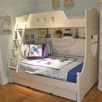 厂家直销欧式实木儿童床上下床高低子母床梯子田园公主床韩式双层床拖床白低价