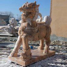 供应石雕麒麟中式传统晚霞红石雕麒麟雕刻定制