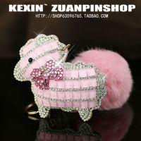 新品时尚韩国镶水钻包挂小羊公仔汽车钥匙扣水晶钥匙挂件创意礼品
