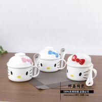 hello kitty陶瓷 卡通泡面杯碗  带陶瓷汤勺 柄的便当盒面杯盖碗