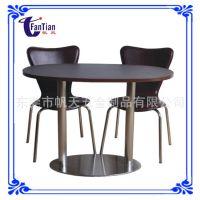 餐厅家具工厂批发不锈钢双柱餐桌 实木餐桌  花店桌子 鲜花桌