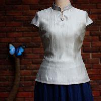 中式丝麻立领修身珍珠扣短款改良唐装修身女上衣茶服