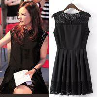 2015夏新款赵薇明星同款无蕾丝拼接显瘦无袖连衣裙 N55404