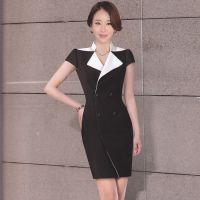 夏季新款职业女装黑白设计气质女装时装连衣裙定做厂家设计