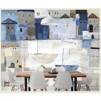 景灿大型3D整张手绘中式水彩抽象房子壁纸 定制无纺布壁画 客厅卧室电视背景墙纸