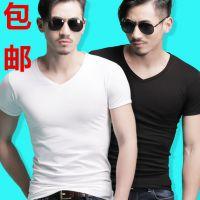 纯色大码青少年韩版修身V领短袖t恤男士夏季运动打底衫潮男装小衫