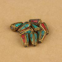 藏式尼泊尔铜珠手工镶嵌绿松石 DIY佛珠手链配件材料批发