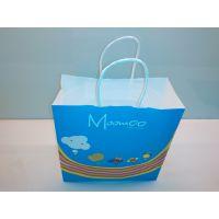 供应美邦儿童服装高档白牛皮印刷包装环保纸袋 定制手提纸袋