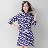 2015春季新款韩版连衣裙修身 7分袖天鹅印花女式连衣裙 一件代发