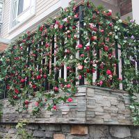 仿真花假花藤蔓装饰 玫瑰花藤 管道装饰花 客厅塑料花藤条批发