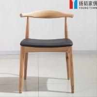 新款实木餐椅牛角椅 餐饮连锁酒店咖啡厅餐桌椅 肯尼迪牛角椅Y椅直销