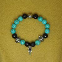 一件代发混搭复古钛钢剑花手链男女黑玛瑙绿松石手链饰品CE413