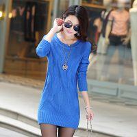 2014秋冬新款韩版女装中长版套头麻花打底衫包臀针织衫毛衣 批发