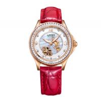 雷力欧(LOREO)1108 红带玫瑰金面时尚镂空女式夜光防水手表