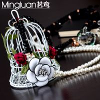 韩版时尚复石珍珠双层玫瑰花毛衣链长项链小额混批厂家直销爆款