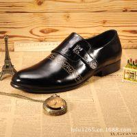新款英伦时尚搭扣牛皮皮鞋 商务男士正装皮鞋韩版尖头真皮男鞋潮