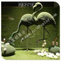 火烈鸟雕塑 爱马仕玻璃钢火烈鸟 玻璃钢豹子 动物雕塑橱窗道具 来图定制