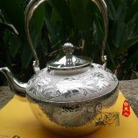 白夫人 银茶具 足银 99纯银手镯 纯手工 平錾牡丹提梁壶