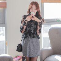 2015夏季韩版新款 时尚花朵蕾丝镂空假两件包臀修身连衣裙速卖通