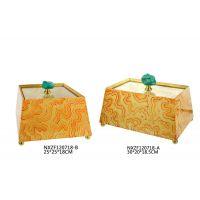 家居软装饰品 木质绿松石手绘艺术摆件 客厅样板房工艺品120718