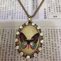合金毛衣链蝴蝶带钻款项链 速卖通供货 淘宝货源 厂家直销