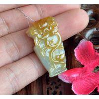 黄翡精雕花瓶吊坠 挂件黄翡厚装精雕玉佩 品质保证60564195949