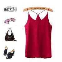2015夏季新款仿真丝纯色套头修身打底衫吊带衫上衣女 C84646