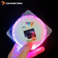 【工厂货源】LED发光杯垫 超薄塑胶圆形杯垫 新款电子闪光啤酒垫
