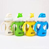 儿童杯子吸管  创意奶瓶 带手柄吸管水瓶 防漏防滑
