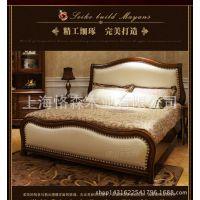 美式实木真皮床 新古典床 美式乡村家具 欧式1.8米双人婚床