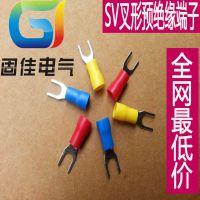 固佳直销圆形预绝缘端头SV3.5-6冷压接线端子接线鼻铜线耳黄铜