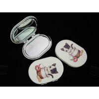 厂家批发定制方形、圆形、椭圆形、心形pu皮革印花广告促销化妆镜