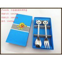 卡通滴胶熊猫勺叉二件套/儿童专用餐具/低价销售/送礼佳品