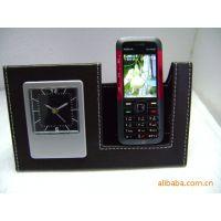 供应多款精美带钟表的皮质手机座