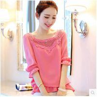 2015春装新款韩版长袖蕾丝雪纺衫女七分袖打底衫女式小衫潮