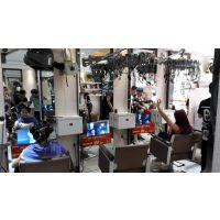 品牌发廊美发形象店采用高端理发镜台电视广告机汇博乐实木