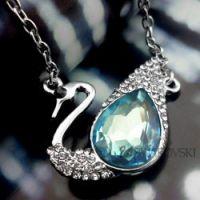 水晶情定天鹅湖明星项链 吊坠项链天蓝色 饰品一件代发 韩版 加盟
