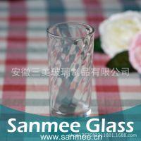 工厂供应888X底部螺纹玻璃水杯 果汁饮料玻璃水杯