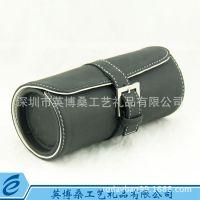 各种精美手表盒包皮表盒 圆形黑色皮革手表礼盒 可加印logo