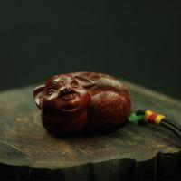 小叶紫檀手把件 宝猪 木质工艺品雕刻 木雕文玩挂件 高级收藏礼品