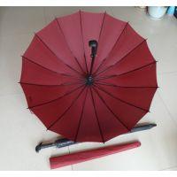 西安16股雨伞 拉簧商务伞 直杆木手柄自动伞印刷logo文字