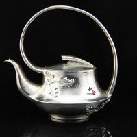 茶道 足银功夫茶具用具 99纯银壶 纯手工 古式提梁泡茶壶