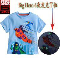 超能陆战队发光儿童短袖T恤Disney迪士尼Big Hero 6一件代发