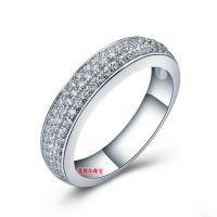 SONA钻三排钻戒指纯银镀金PT950印记定18K金铂金莫桑钻戒女款钻戒