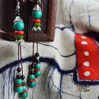 民族风特色绿松石流苏长耳环 厂家直销 原创设计手工饰品