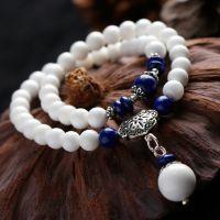 纯天然白砗磲手链 原创女款多层泰银锁手串  量大从优青金石隔珠