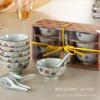 厂家直销12头高档商务礼品 日韩式陶瓷餐具套装 6碗6勺 YX-002